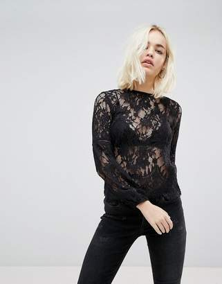 New Look Lace Sleeve Jersey Top