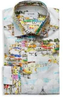 Eton Slim-Fit Scenery-Print Cotton Poplin Dress Shirt