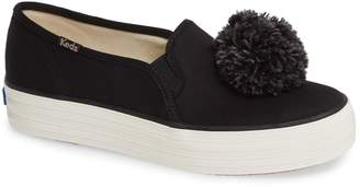 Keds R) Triple Decker Pompom Slip-On Sneaker