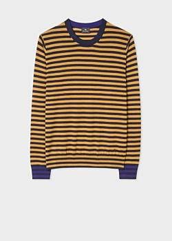 Paul Smith Men's Mustard And Navy Stripe Merino Wool Sweater