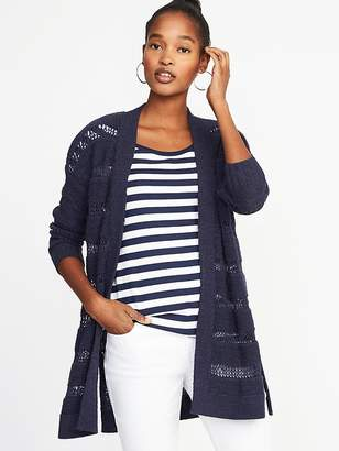 Old Navy Open-Front Long-Line Pointelle Sweater for Women