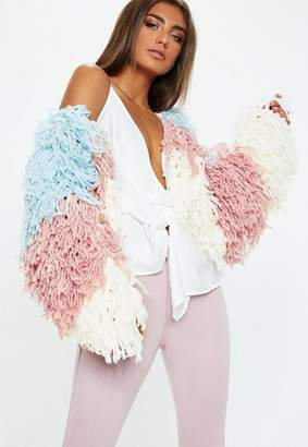 Missguided Blue Color Block Shaggy Cardigan