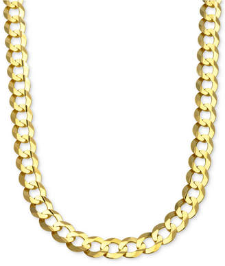 """Italian Gold 22"""" Curb Link Chain Necklace in Solid 10k Gold"""