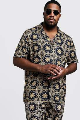 Big & Tall Baroque Tile Print Revere Shirt