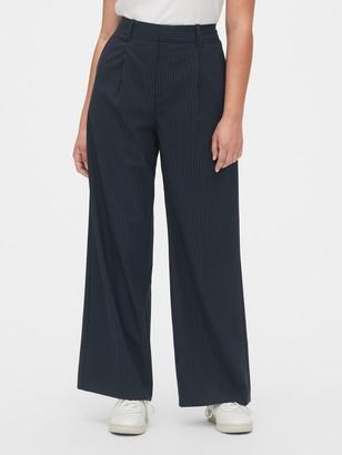 Gap High Rise Pleated Stripe Wide-Leg Pants