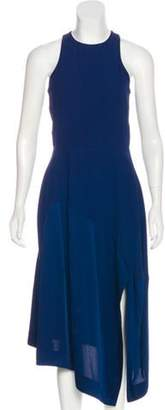 Stella McCartney Satin-Paneled Midi Dress Navy Satin-Paneled Midi Dress