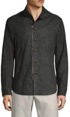 John Varvatos Stand Collar Leather Jacket