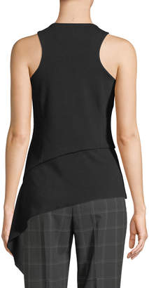 T Tahari Asymmetric Ruffle-Hem Sleeveless Knit Top