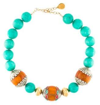 Devon Leigh Dyed Amazonite & Resin Bead Strand Necklace