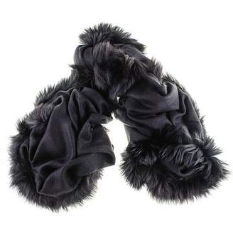 Black Fur Trimmed Cashmere Ring Shawl