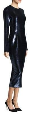 Diane von Furstenberg Sequin Midi Long-Sleeve Sheath Dress