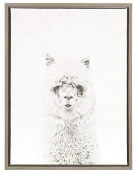 Kate and Laurel Kate And Laurel Sylvie Hairy Alpaca Grey Framed Canvas Wall Art