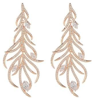 Nadri Sophia Pave CZ Linear Leaf Dangle Earrings