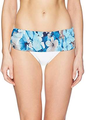 Calvin Klein Women's Solid Fold Over Waistband Full Bikini Bottom Swimsuit