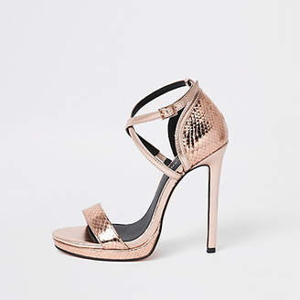 River Island Rose gold barely there platform sandals