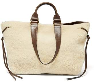 Isabel Marant Wardy Shearling And Leather Tote Bag - Womens - Cream