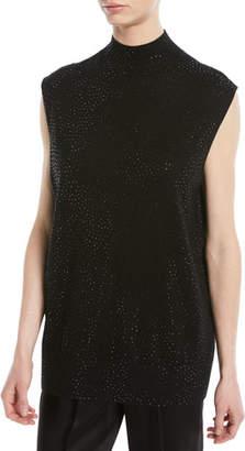 Emporio Armani Sleeveless Mock-Neck Embellished Wool Tunic