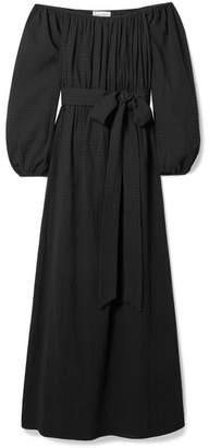 Mara Hoffman Malika Off-the-shoulder Textured-organic Cotton Maxi Dress - Black