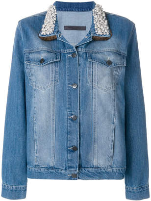 Simonetta Ravizza pearl collar denim jacket