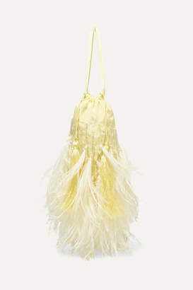 ATTICO Feather-trimmed Beaded Satin Pouch - Yellow