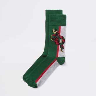 River Island Green snake novelty socks