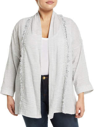 Bobeau Kendall Striped Fringe-Trim Jacket, Plus Size