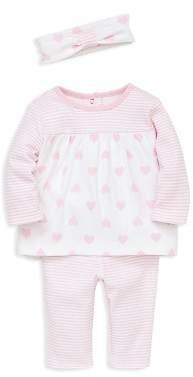 Little Me Girls' Heart & Stripe Tunic, Leggings & Headband Set - Baby
