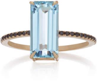 Black Diamond Yi Collection 18K Gold Aquamarine and Ring