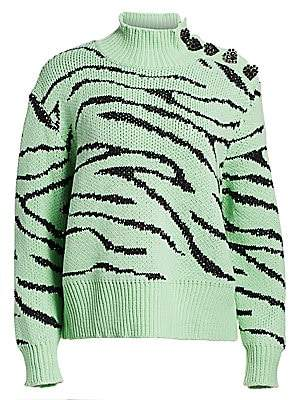 Olivia Rubin Women's Layla Tiger-Print Turtleneck Sweater