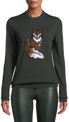 Markus Lupfer Mia Sequin Fox Wool Pullover Sweater