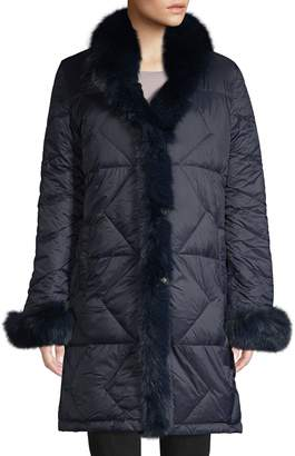 Blue Duck Reversible Rabbit & Fox Fur-Trim Down Coat