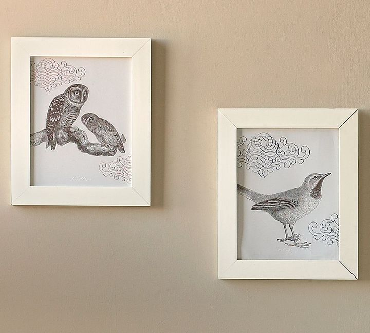 Framed Letterpress Bird Prints, Set of 2