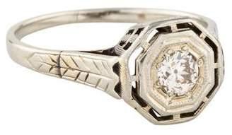 Ring Art Deco 18K Old European Cut Diamond