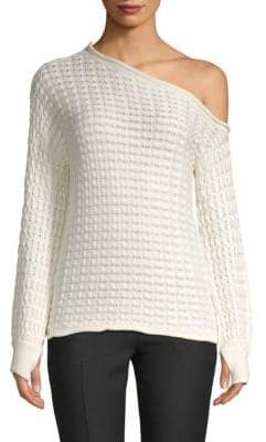 One-Shoulder Cable Knit Sweater