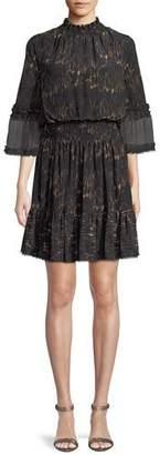Kobi Halperin Myra Leopard-Print Silk Dress w/ Pleated Skirt