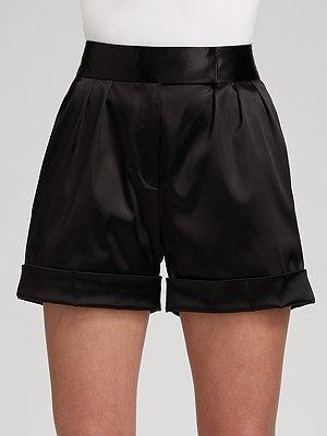 Jay Godfrey Silk Satin Pleated Cuff Shorts