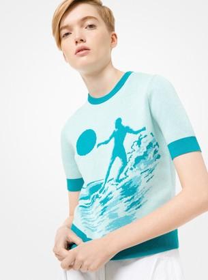 Michael Kors Cotton and Merino Short-Sleeve Surfer Sweater