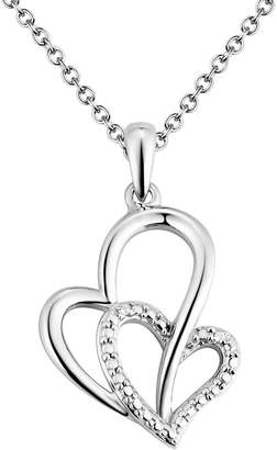 Two Hearts Forever One Diamond Accent Sterling Silver Heart Pendant Necklace