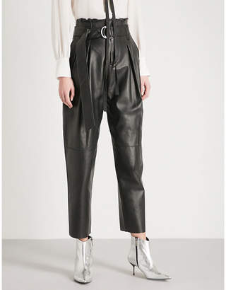 Mo&Co. Paper bag-waist straight leather trousers