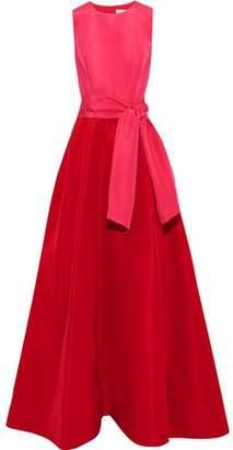 Carolina Herrera Belted Cutout Two-tone Silk-faille Gown