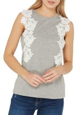 Dorothy Perkins Floral-Lace Trim Top