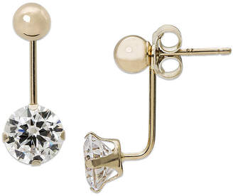 FINE JEWELRY Cubic Zirconia and 14K Yellow Gold Ball Front-To-Back Stud Earrings