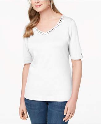 Karen Scott Cotton Embellished Cutout T-Shirt, Created for Macy's