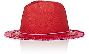 Lafayette House of Women's Johnny 4 Layered-Look Straw Panama Hat-Red
