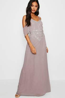 boohoo Boutique Embellished Waist Maxi Dress
