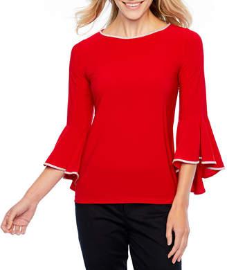 MSK Long Sleeve Round Neck Knit Embellished Blouse