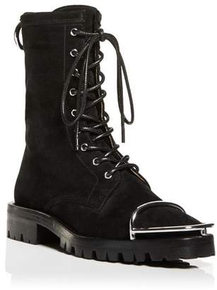 Alexander Wang Women's Kennah Round Toe Suede Lace-Up Boots