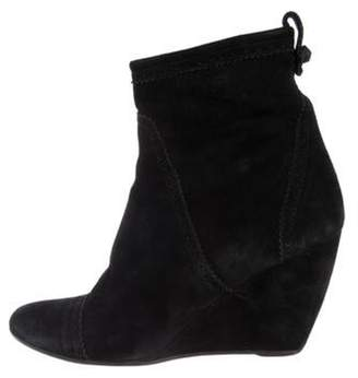 Balenciaga Suede Wedge Ankle Boots Black Suede Wedge Ankle Boots