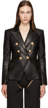 Balmain Black Six-Button Leather Blazer