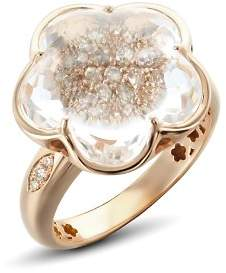 Pasquale Bruni 18K Rose Gold Bon Ton Champagne Diamond & Rock Crystal Floral Ring